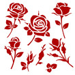 Rose icon. Set of decorative roses silhouettes