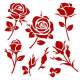 Rose icon. Set of de...