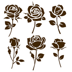 Rose icon. Set of roses silhouettes