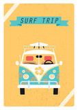 Surf trip poster. Surf bus. Vector illustration. Design for posters, t-shirts, flayer.