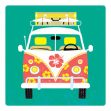 Surf bus. Surf trip poster. Hippie bus with surf. Vector illustration.