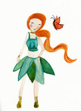 Elvish girl with butterfly watercolor