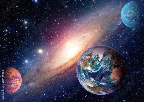 Fototapeta Space planet galaxy milky way Earth Mars universe astronomy solar system astrology. Elements of this image furnished by NASA.