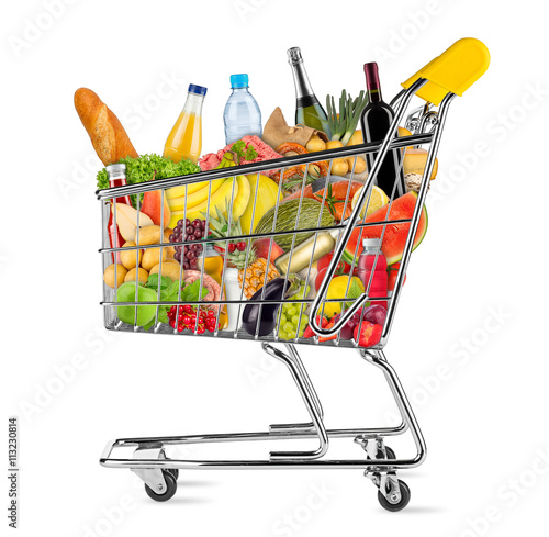 shopping cart filled with fresh tasty food isolated on white background / EInkaufswagen gefüllt mit leckeren frischen Lenbensmitteln isoliert