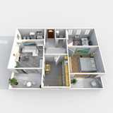 Fototapety 3d interior rendering perspective view of rectangular furnished home apartment: room, bathroom, bedroom, kitchen, living-room, hall, entrance, door, window,