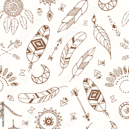 Seamless pattern with Boho Chic Style Elements Poster