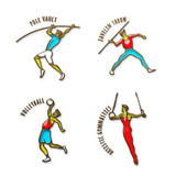 Athlete Icon. Volleybal. Jevilin Throw. Pole Vault. Artistic Gymnastics. Summer games. Sport icons with sportsmen for competitions or championship design. 3D Illustration, gold and colored glass