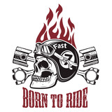Fototapety Born to ride. Skull in motorcycle helmet on background with whee