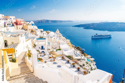 Fototapety, obrazy : Fira capital of Santorini island and the view of volcanic caldera, Santorini, Greece