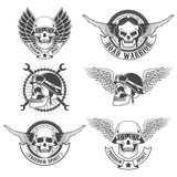 Fototapety Set of motorcycle club labels templates.Skulls in motorcycle hel