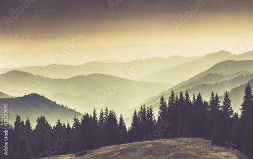 Landscape of misty mountain hills.  - 113250806
