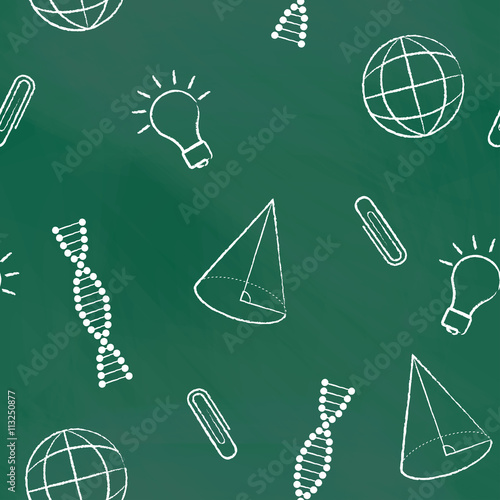 Staande foto Kunstmatig Seamless pattern back to school. Vector green blackboard written with white chalk a cone, bulb, clipa DNA molecule, globe. School background for design covers notebooks and textbooks