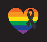 Orlando tragedy mass shooting. Pray for the victims. Rainbow heart with black ribbon vector.