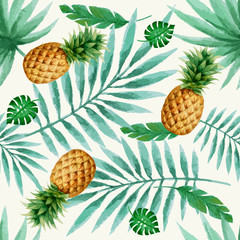 Exotic fruits seamless pattern, watercolor.