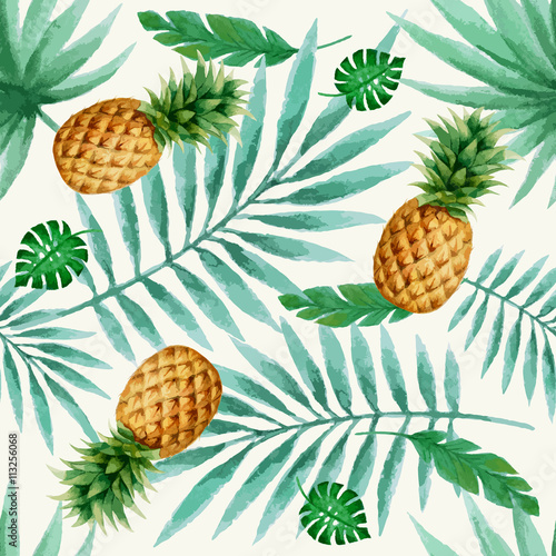 Materiał do szycia Exotic fruits seamless pattern, watercolor.