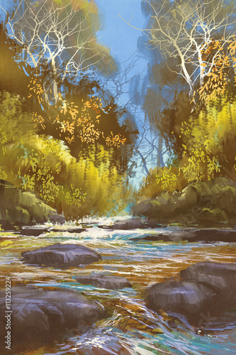 Obraz landscape painting of creek in forest,river,waterfall,illustration