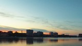 NIghtfall. Transition from day to night looking over Vilga-river, Astrakhan, Russia. Time lapse shot