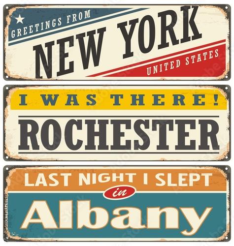 Zdjęcia na płótnie, fototapety, obrazy : Retro tin sign collection with USA city names