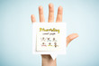 Storytelling art for kids concept. Hand up showing a paper note illustrated.