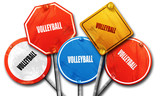 volleyball sign background, 3D rendering, rough street sign coll