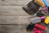 hairdresser tools on wood table