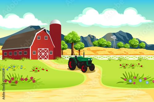 Fotobehang Boerderij Farm Scene