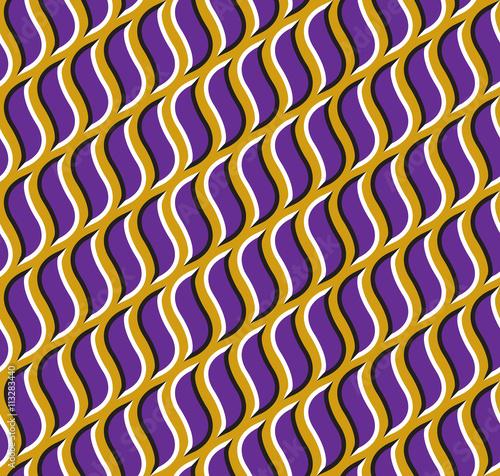 Optical illusion seamless pattern. Purple hooks move on golden background.