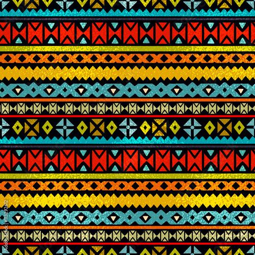 Cotton fabric Tribal art  boho ethnic colorful seamless pattern