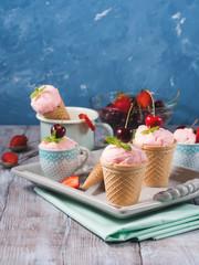 Strawberry ice cream still life. Vertical. Copy space
