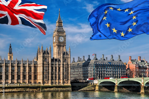 Zdjęcia na płótnie, fototapety, obrazy : European Union and British Union flag flying against Big Ben in London, England, UK, Stay or leave, Brexit