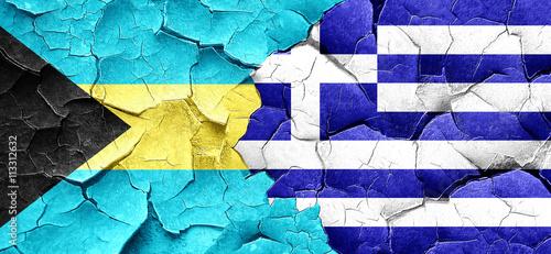 Zdjęcia na płótnie, fototapety, obrazy : Bahamas flag with Greece flag on a grunge cracked wall