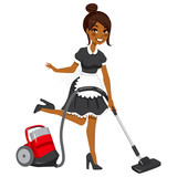 Beautiful African American woman in vintage maid dress cleaning using red vacuum cleaner