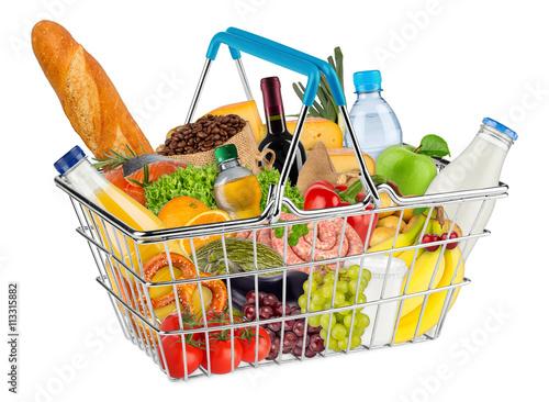shopping basket filled with fresh tasty food / Einkaufskorb gefüllt mit frischen leckeren Lebensmitteln
