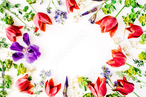 floral frame with red tulips, yellow flowers, purple iris, branches, leaves and petals isolated on white background. flat lay, overhead view