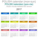 2017 Calendar Polish Language Version Monday to Sunday