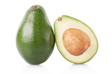 Avocado and section isolated on white, clipping path