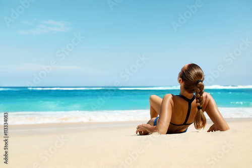 Poster Woman On Beach In Summer. Sexy Happy Female Model Tanning