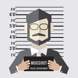 Mugshot Of Businessman Vector Illustration.