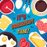 Fototapety Comic breakfast pop art illustration with food and drinks