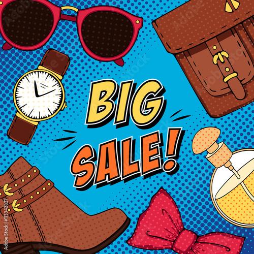 obraz lub plakat Comic fashion big sale pop art background