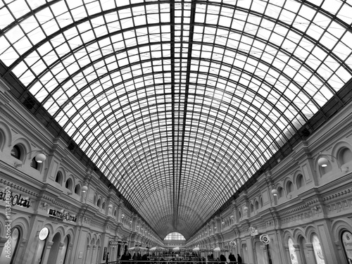 Poster black and white photo of the roof shopping center