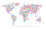 World map from colorful musical notes on white background. Different colors notes pattern. Map shape. Poster idea.