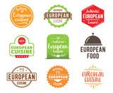 European cuisine vector label