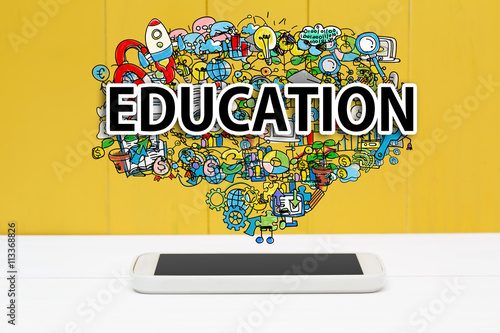Education concept with smartphone Canvas Print