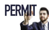 Business man pointing the text: Permit