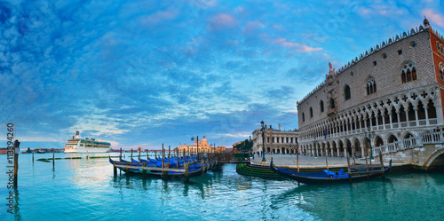 Fototapeta View of morning San Marco square and cruise ship, Venice, Italy