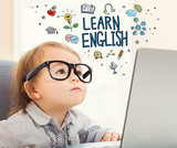 Fototapety Learn English concept with toddler girl