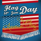 Flag Day Design with American Flag with Fringes, Vector Illustration
