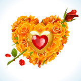 Vector yellow Roses, golden jewel and red crystal in the shape of heart with flower arrow