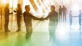Business People Handshake Greeting Agreement Talking Deal Concept